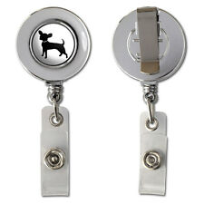 Chihuahua Retractable Reel Chrome Badge ID Card Holder