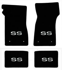 NEW 1967-1969 Camaro Floor Mats Black Carpet Embroidered SS Silver Logo on all 4