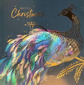 CHARITY CHRISTMAS CARD 'PEACOCK' ~ SINGLE CARD ~ EX WHSMITH