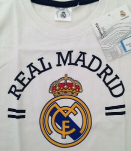 REAL MADRID T-SHIRT CHILDRENS 5-6 YEARS WHITE COTTON 100% OFFICIAL FCRM PRODUCT