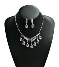 Beautiful Necklace and Earrings set Crystal Silver Coloured Purple Stone Ladies