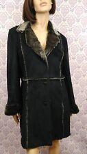 Kroshetta Womens Coat Faux Suede Faux Fur Vegan Black Gray Shearling Style Boho