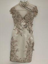 Custom Made Chinese Wedding Dress Swarovski Crystal Sheer Back XS X-Small 0 2