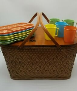 Vintage Redmon Woven Picnic Basket Wood Wicker Mid Century with flatware/acc.