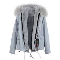 Women's Luxury Colored Hood Extra BIG 100% REAL FUR Coat Jacket Parka