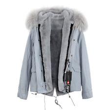 Womens Luxury Colored Hood Extra BIG 100% REAL FUR Coat Jacket Parka Winter Warm