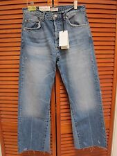 NWT ZARA SS17 HIGH RISE BOOTCUT JEANS Distressed Size US 8 Vintage Samurai Blue