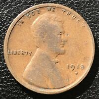 1918 D Wheat Penny Lincoln Cent 1c Higher Grade #14360