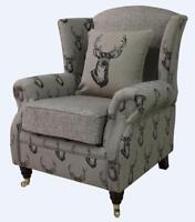 Ashley Fireside High Back Wing Armchair Antler Stag Chocolate Brown Chair
