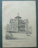 AR89) Architektur Karlsruhe 1889 Villa Muntz Haus Garten  Holzstich 28x39cm