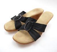 Faux Cork Wedge Heel Sandal Shoes US Sz 8.5-9 Made in Italy Black Tan Beige