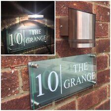 MODERN HOUSE SIGN PLAQUE DOOR NUMBER STREET GLASS ALUMINIUM EFFECT SOLAR LIGHT