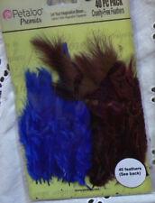 Mixed FEATHERS - Blue / Purple - 40 per Pack - approx 6cm long Petaloo