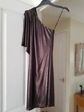 Cute River Island Brown Shiny Elegant Dress, One Shoulder, Size 8, VGC