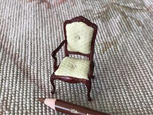 """Bespaq Walnut Arm Chair Cream Fabric HALF INCH 1:24  1/2"""" Scale 4441"""