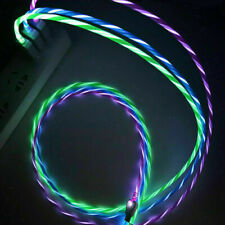 1M/3.3ft LED Light Up Flowing Micro USB / Type C Charging Data Cable For Samsung