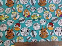 "Scooby- doo print cotton fabric , by FQ , 18"" x 22"" , nursery,masks, children"