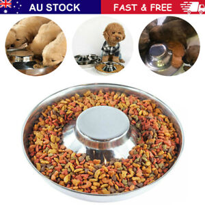 Feeder Bowl Stainless Dish Puppy Dog Pet Cat Litter Food Feeding Weaning Home AU