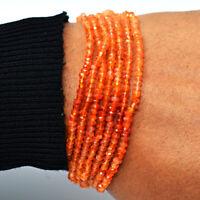 """76.00 Cts Earth Mined 6"""" Long Orange Carnelian Faceted Beads Bracelet JK-47E288"""
