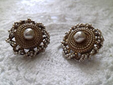 Miriam Haskell 1950 Gold Gilt Brass Vtg Earring w Seed Bead Baroque Pearls AS IS