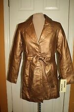 MetroStyle Genuine Leather Belted Trench Coat Gold Bronze 8 Petite New $140