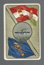 Swap Playing Cards 1 VINT EUROPEAN  SHIPPING LINE  ADVERT  FLAGS CROWNS    S34