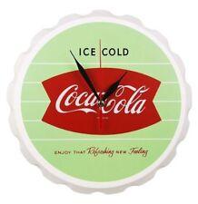 Coca Cola Wooden Fishtail Design Bottle Cap Shape Wall Clock Reto Vintage