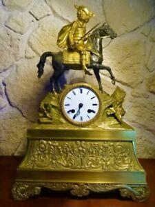 Mousquetaire à Cheval Pendule en Bronze Mouvement à Fil  Epoque Restauration
