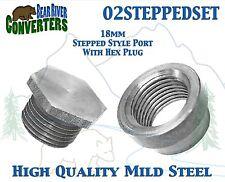 O2STEPPED SET O2 Oxygen Sensor Step Style Bung Port Boss Nut Fitting w/Plug 18mm