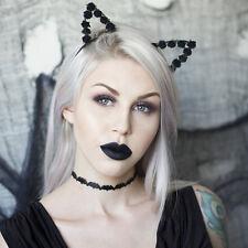 NASTRO avvolto orecchie da gatto con fiori di rosa di carta nera fascia per capelli-Halloween