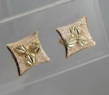Estate 10 Karat Black Hills Gold Square Stud Post Back Earrings 10K Y0028