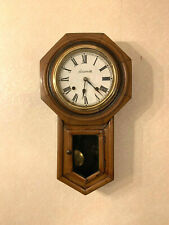 More details for overhauled, antique american/japanese octagon oak drop dial striking wall clock