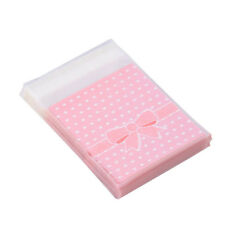100 Pcs Pink Bowknot Dot Pattern Cake Cookies Candy Bags Party Sweets Gift Wrap