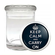 Odorless Air Tight Medical Glass Jar keep Calm and Carry On Design-013