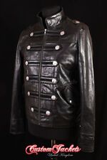 Men's HERITAGE MILITARY Black PARADE Style Real Hide Leather Jacket Coat 2212