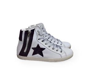 scarpe sneakers alte uomo Via Condotti pelle bianca antracite stella cerniera