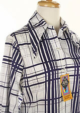 Bold Stripe Navy Blue Plaid - 70s Button Up Blouse - NWT - Sz M - Hey Viv !
