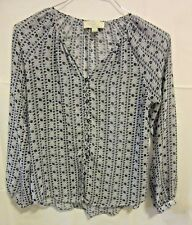 Olive & Oak XS navy  blue sheer LS blouse shirt button up