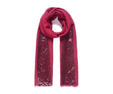 Wine red elegant fine self-fringed scarf shoulder wrap sequin panel NWT Xmas