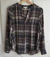 Joie Womens Silk Gray Caviar Plaid Split Neck Coralle Blouse Top Shirt Size XS
