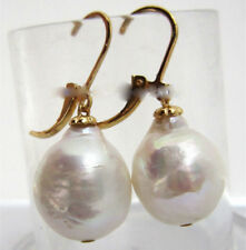 Huge AAA 13X16mm South Sea White Baroque Pearl Earrings 14K YELLOW GOLD 18