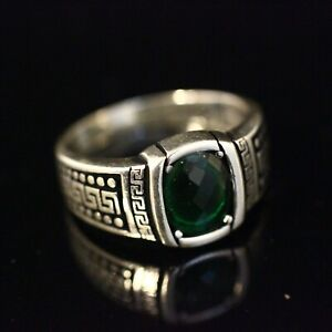 925 Sterling Silver Handmade Authentic Turkish Emerald Men's Ring Size 9 10 11