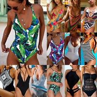 US Womens One-Piece Swimsuit Beachwear Swimwear Push-up Monokini Bikini Bathing