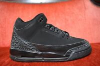 CLEAN Nike Air Jordan III 3 Black Cat Retro Black Anthracite GS 2007 Size 4 Y