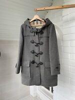 Women's Burberry Brit Gray Wool Toggle Duffle Coat UK12 US10