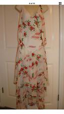 Express Celia Birtwell White Floral Silk Maxi Long Dress. Size: 2
