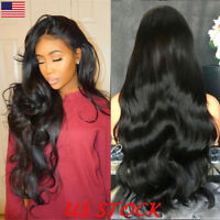 28'' Long Wavy Black Wig Rose Net Fashion Heat Resistant Synthetic Wigs Women US