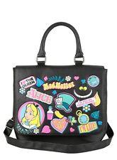 Loungefly Disney Alice In Wonderland Sticker Icons Saddle Tote Bag Purse NWT