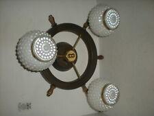 Vtg Nautical Ships Wheel Metal Ceiling Mount 3 Light Hob Nail Fixture Chandelier
