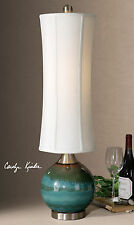 NEW GLOSSY BLUE CERAMIC DRIP FINISH TABLE LAMP LINEN SHADE READING DESK LIGHT